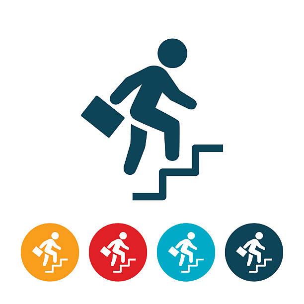 geschäftsmann klettern schritte symbol - treppe stock-grafiken, -clipart, -cartoons und -symbole