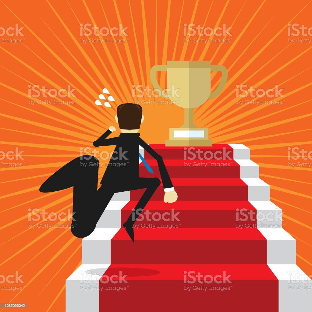 businessman climbing steps to trophy stock vector art more images