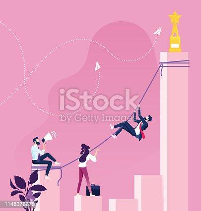 Businessman Climbing to get Top. Success concept
