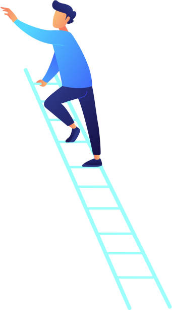stockillustraties, clipart, cartoons en iconen met zakenman klimmen op de ladder vectorillustratie - ladder