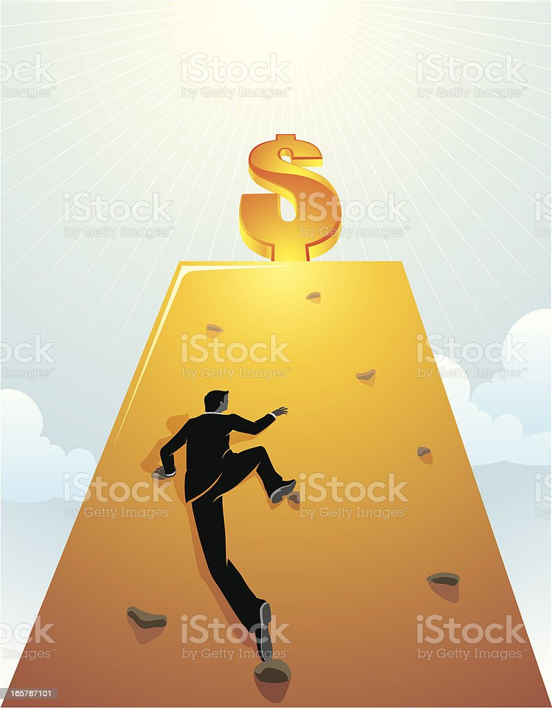 Businessman climbing wall with dollar sign on top royalty-free businessman climbing wall with dollar sign on top stock vector art & more images of above