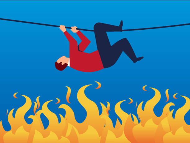 Businessman climbs dangerously along the rope Businessman climbs dangerously along the rope escaping stock illustrations
