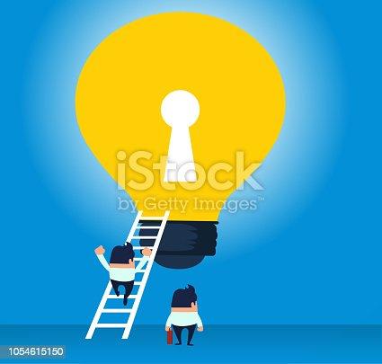 Businessman climbs the ladder to the light bulb