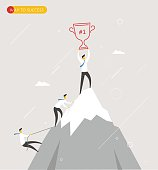 Businessman climbs the mountain, cup in hand. Winning success hard