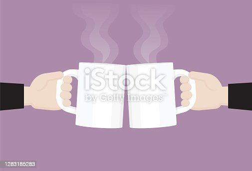 istock Businessman clink a coffee cup 1283185283