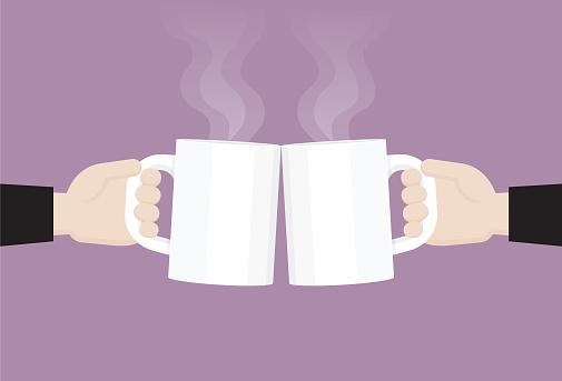 Businessman clink a coffee cup