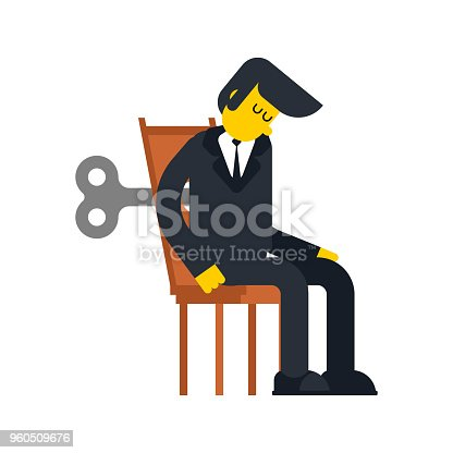 Businessman Clockwork Key. Business toy robot mechanism gear. Vector illustration