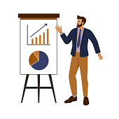 businessman, coach showing perspective growth charts on glider board, standing on isolated white background. vector illustration in cartoon, flat style