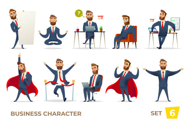 Businessman collection. Bearded charming business men in different situations. Manager character design. Businessman collection. Bearded charming business men in different situations. Manager character design happy boss stock illustrations