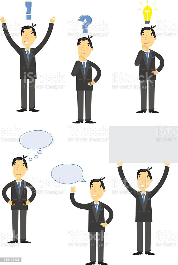 Businessman Communications Set vector art illustration