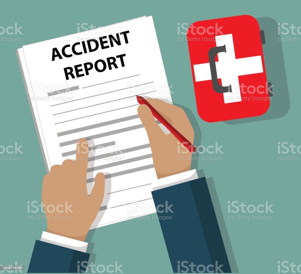Geschäftsmann Unfallbericht ausfüllen Dokument neben First Aid Kit – Vektorgrafik
