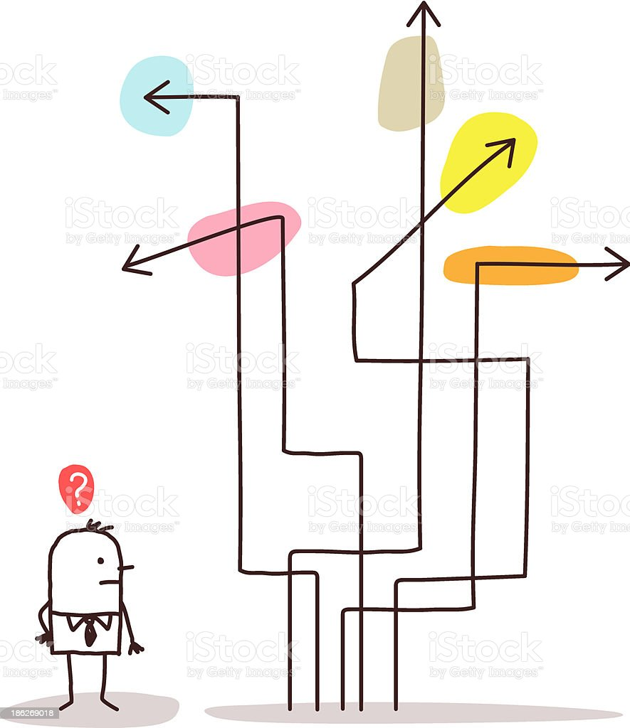 Businessman Confused About Directions Arrows vector art illustration
