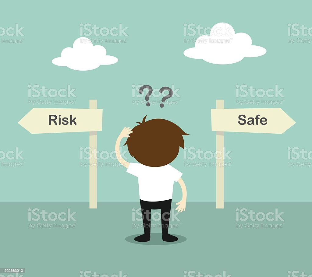 Businessman confused about two direction, between risk or safe. vector art illustration