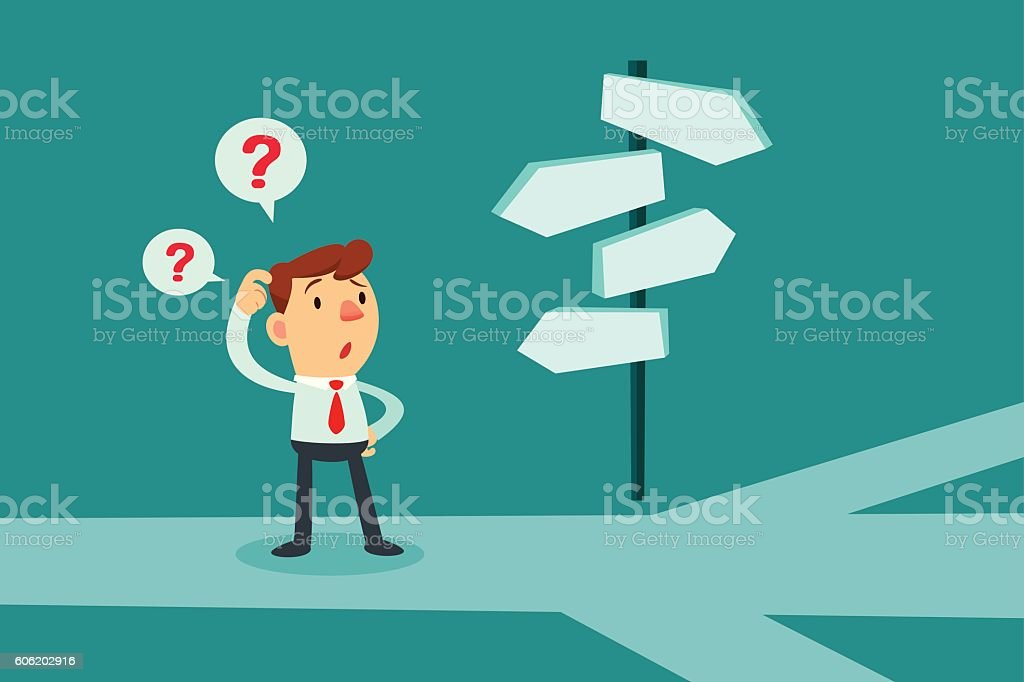 businessman confused by direction signs vector art illustration