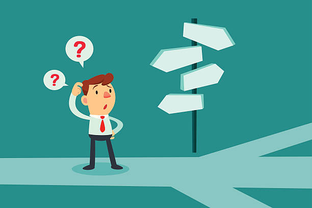 businessman confused by direction signs - 困惑 幅插畫檔、美工圖案、卡通及圖標