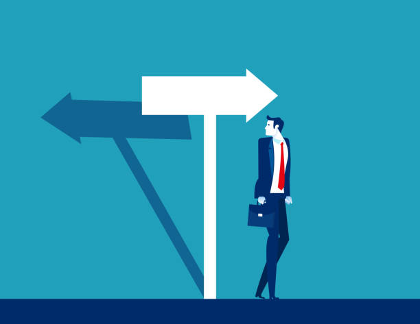 Businessman confused with the direction of the arrow sign. The arrow shadow in opposite direction vector art illustration