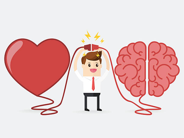 businessman connecting brain and heart interactions concept best teamwork - love emotion stock illustrations