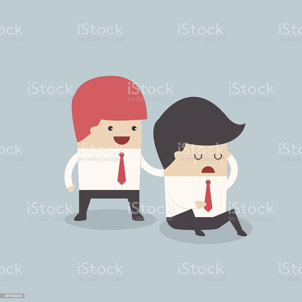 Businessman console his friend vector art illustration