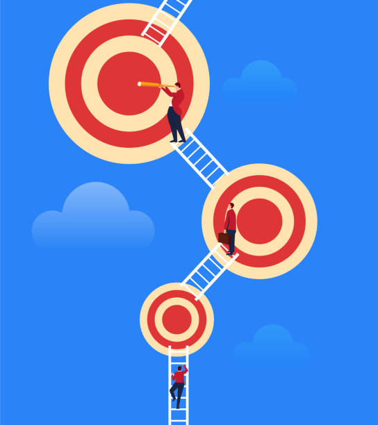 businessman constantly climbing to bigger targets - goals stock illustrations