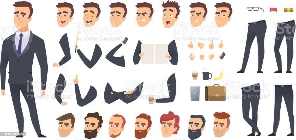 Construtor de empresário. Colegas de trabalho gerente de negócios pessoa pessoas keyframes animação personagem vector criação kit ou - Vetor de Acessório royalty-free