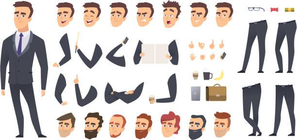 ilustrações, clipart, desenhos animados e ícones de construtor de empresário. colegas de trabalho gerente de negócios pessoa pessoas keyframes animação personagem vector criação kit ou - business man