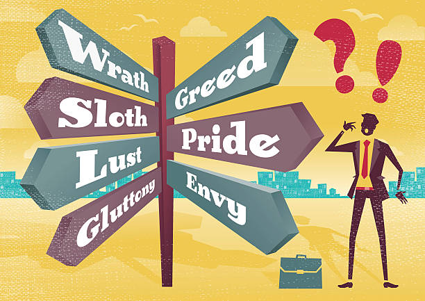 Businessman Contemplates 7 Deadly Sins Sign Post Dilemma. vector art illustration