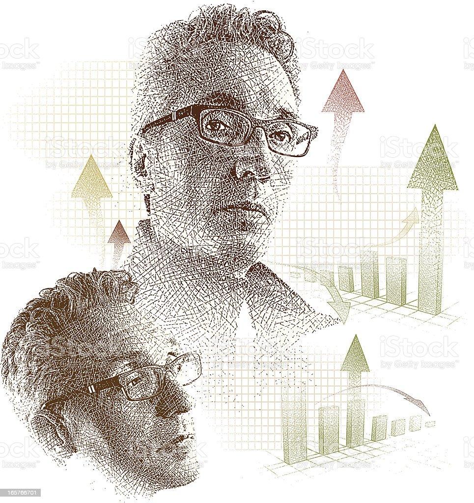 Businessman Contemplating Charts royalty-free stock vector art