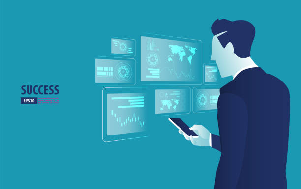 ilustrações de stock, clip art, desenhos animados e ícones de businessman controlling futuristic hologram interface. business vector concept illustration - business woman hologram