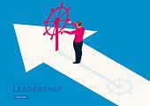 Businessman controls the rudder on the arrow