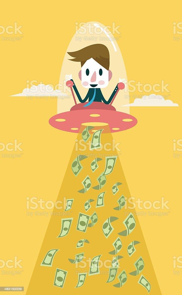 Businessman controls UFO to suck dollar banknotes. vector art illustration