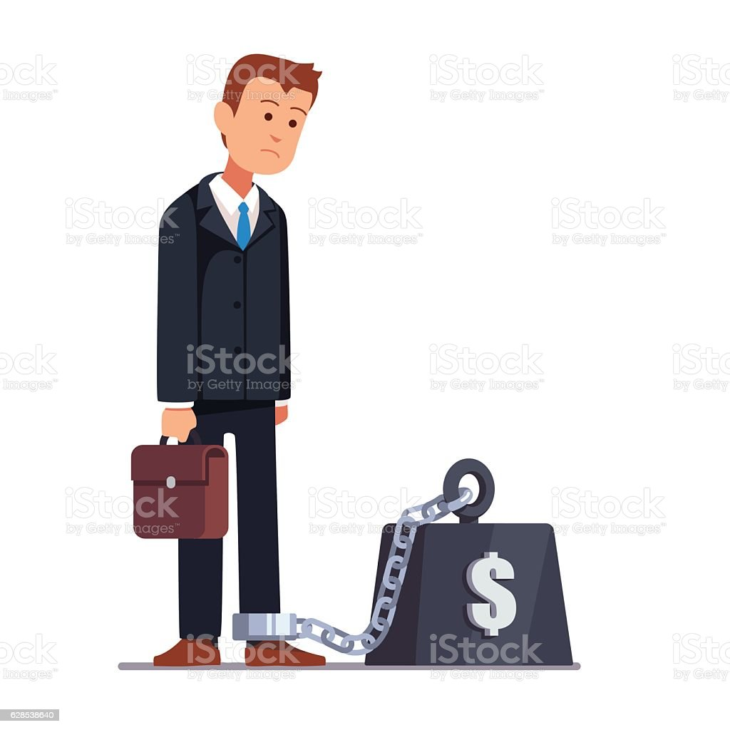 Businessman corporate slavery concept vector art illustration