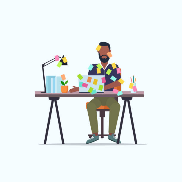 businessman covered with stick notes business planning deadline concept african american office worker using laptop sitting at workplace flat full length businessman covered with stick notes business planning deadline concept african american office worker using laptop sitting at workplace flat full length vector illustration busy stock illustrations