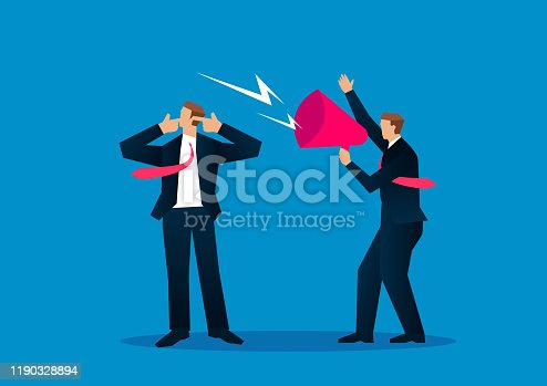 Businessman covering ears with fingers ignoring noise