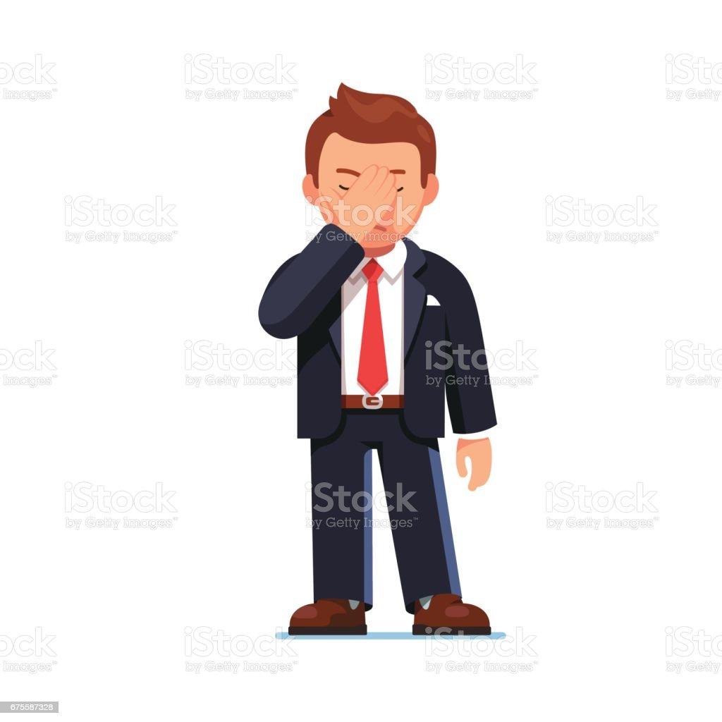 Businessman covering eyes showing facepalm gesture businessman covering eyes showing facepalm gesture – cliparts vectoriels et plus d'images de adulte libre de droits