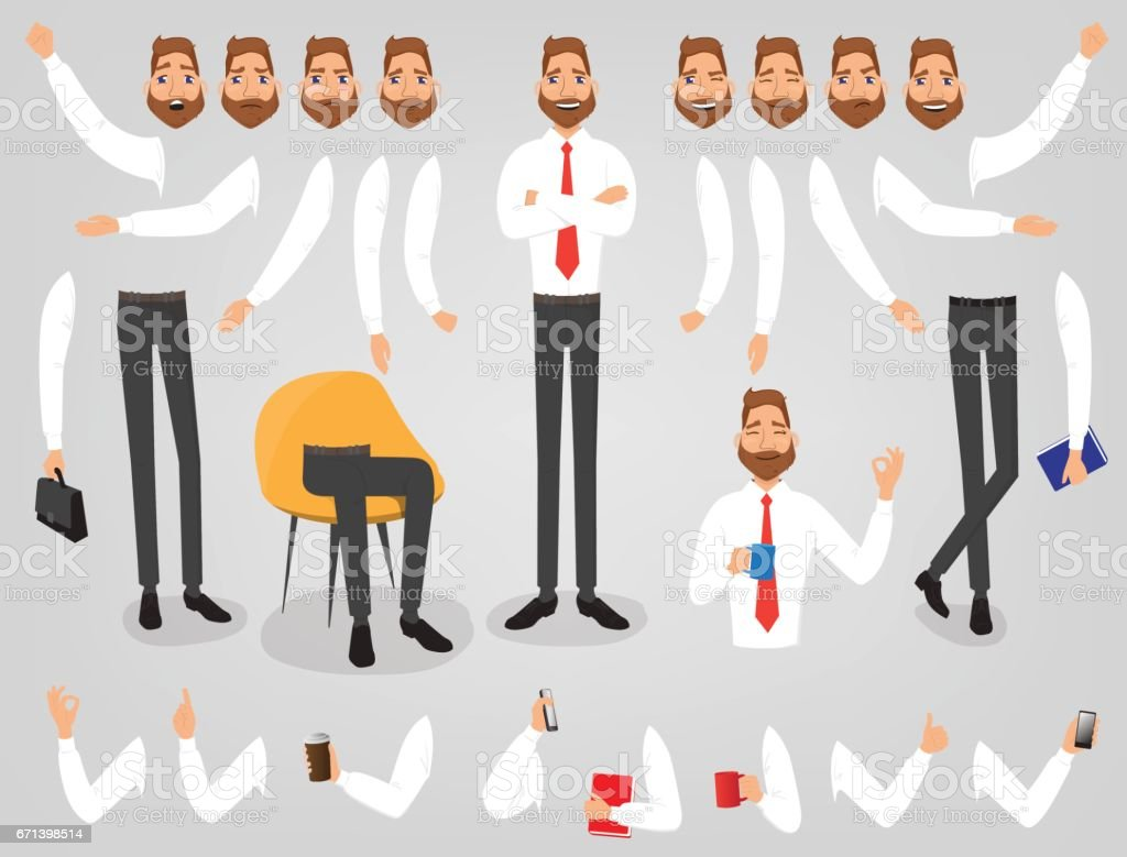 Businessman creation set build your character vector art illustration