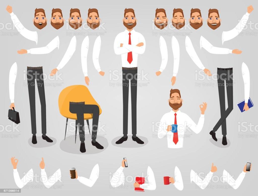 Conjunto de criação do empresário construir seu personagem - ilustração de arte em vetor