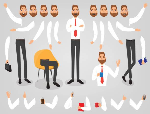businessman creation set build your character - businessman stock illustrations, clip art, cartoons, & icons