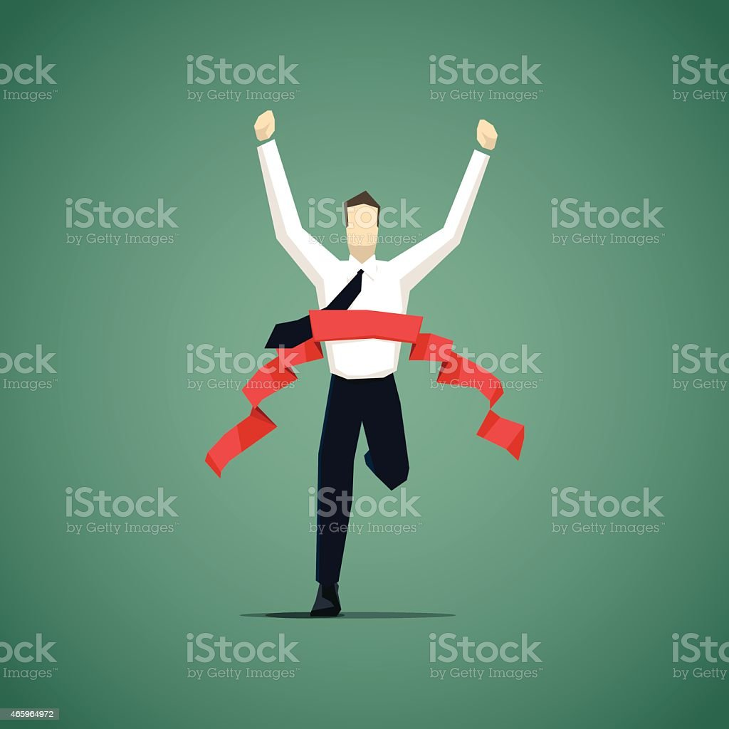 Businessman crossing finish line, he is won a competition vector art illustration