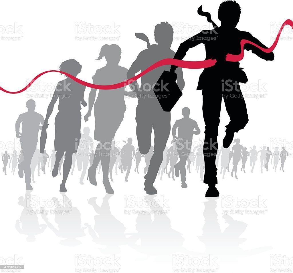 Businessman crossing the finish line vector art illustration