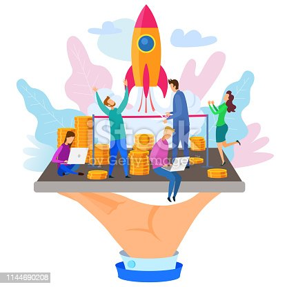 Hand Hold Phone Businessman Cut Red Ribbon Rocket Launch Development Team People Vector Illustration. New Startup Project Sucessful Company Launching Mobile Application Internet Service