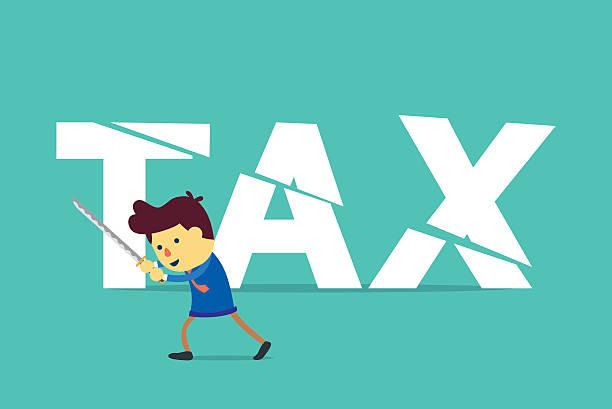 businessman cut tax with sword. - geldstrafe stock-grafiken, -clipart, -cartoons und -symbole