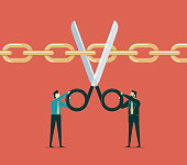 Business people cut the supply chains