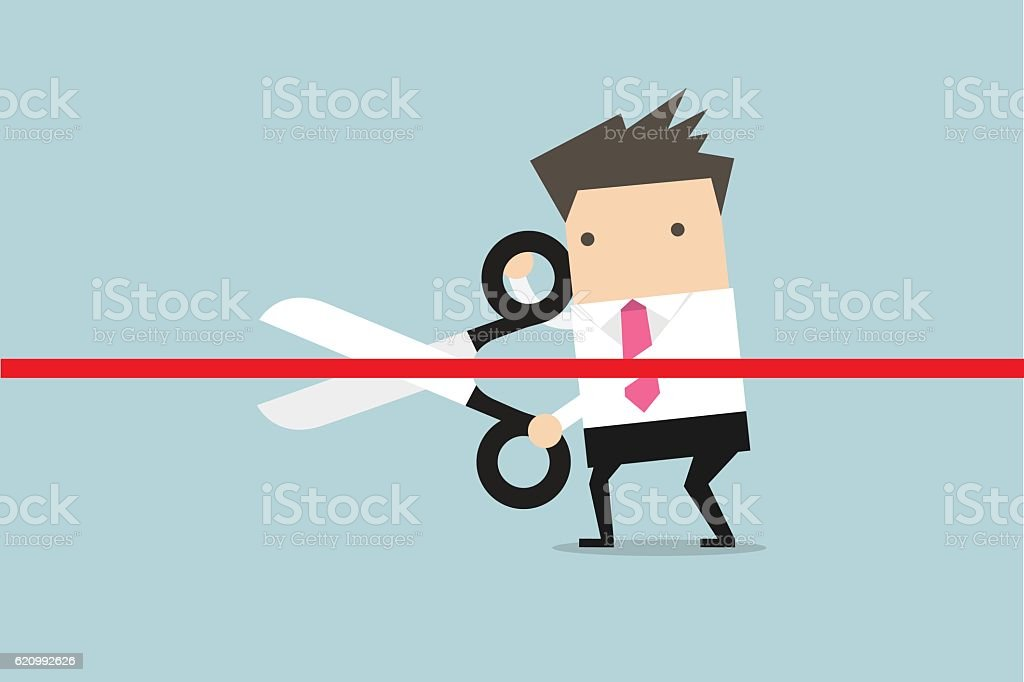 Businessman cutting a red ribbon with scissors. vector art illustration