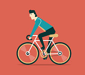 Businessman cycling. boss is on bicycle. Business illustration