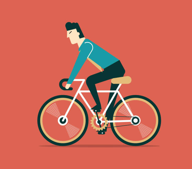 Businessman cycling Businessman cycling. boss is on bicycle. Business illustration one man only stock illustrations