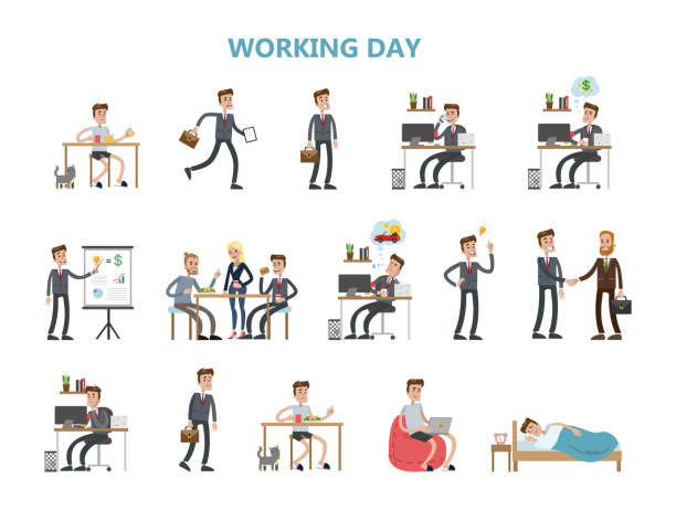 illustrazioni stock, clip art, cartoni animati e icone di tendenza di businessman daily routine. - uomo stanco
