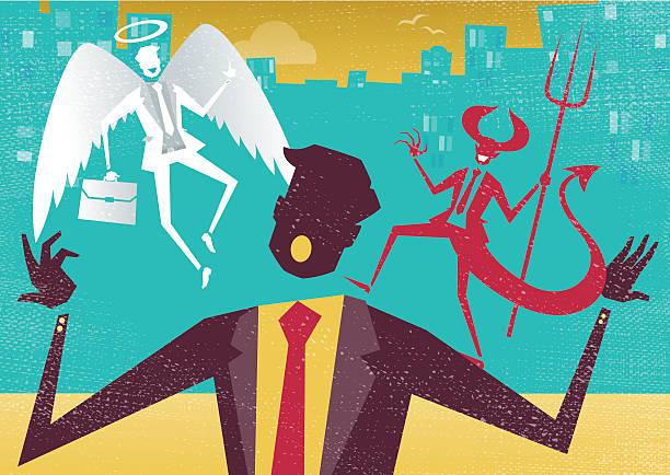 Businessman decides between Good and Evil. vector art illustration