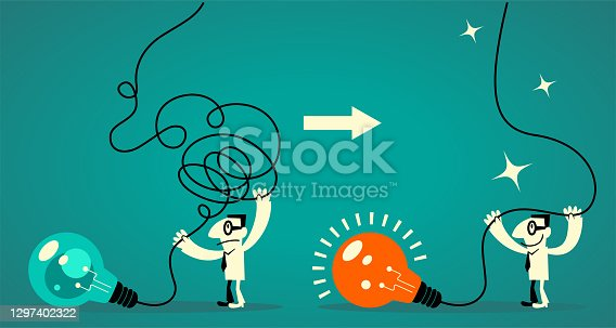 istock Businessman (office worker) decluttering his mind (light bulb with tangled messy electrical line) and regaining (restoring) his focus (clear thinking) 1297402322