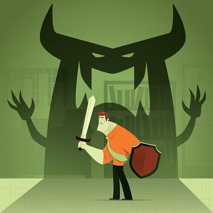 businessman defending