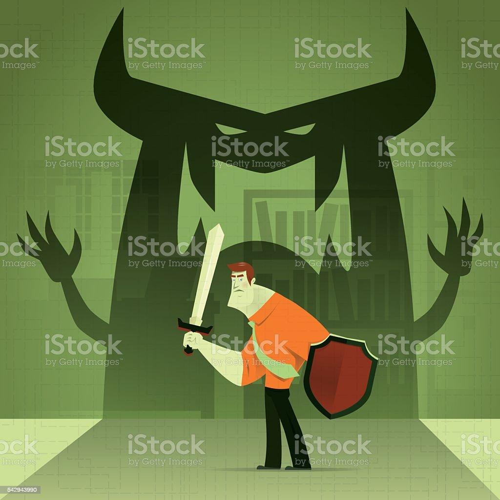 businessman defending vector art illustration